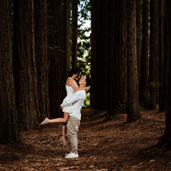 Couple on engagement shoot