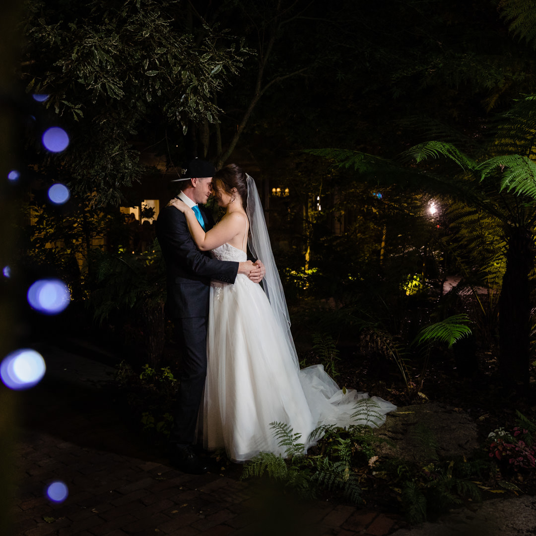 Bride and Groom night shots with fairy lights
