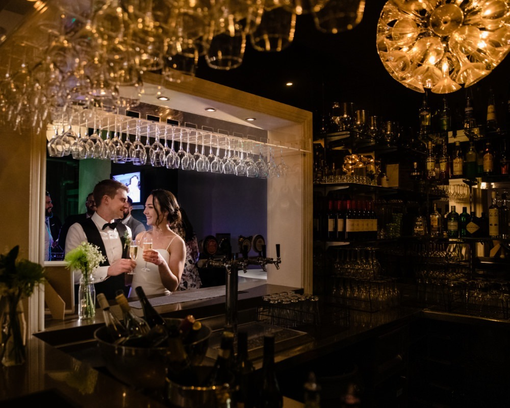 St Andrews Hotel Fitzroy - Bride and Groom at bar