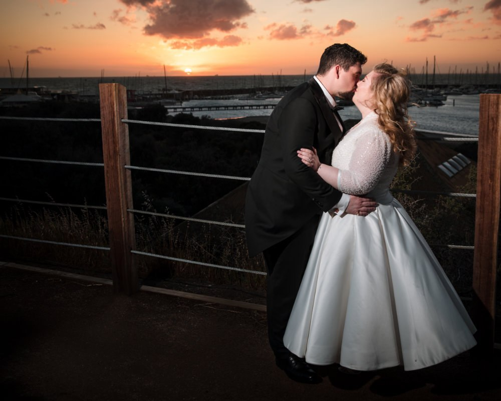 Sandy By The Bay - Bride and Groom at beach sunset