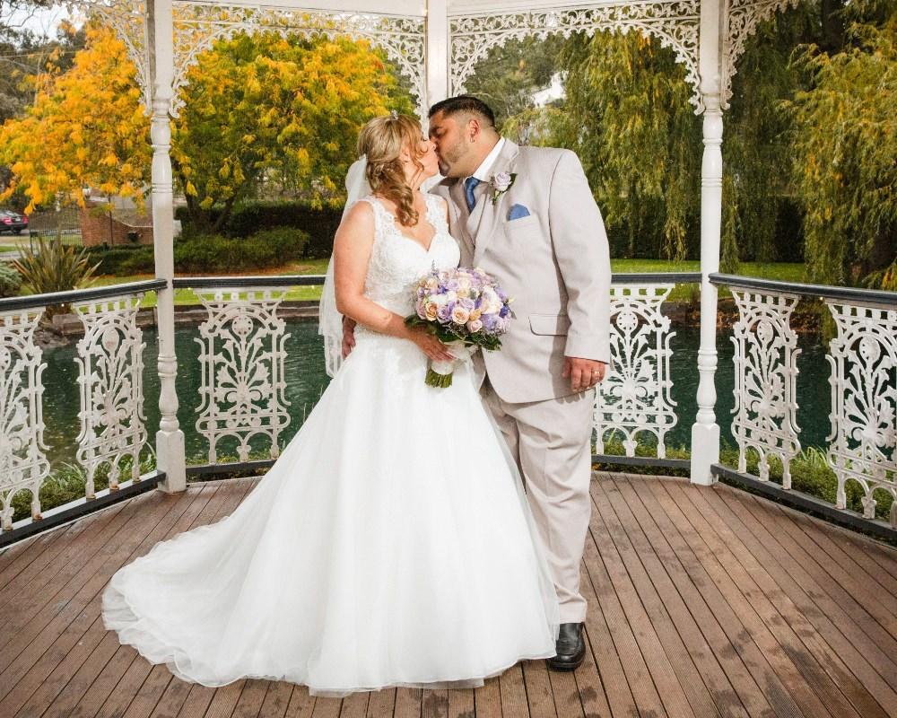 Ballara Receptions - Bride and Groom in gazebo
