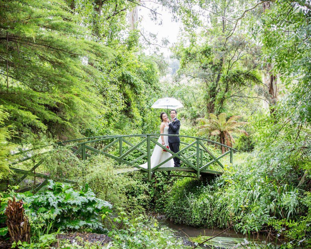 Chateau Wyuna Receptions - Bride and Groom on a bridge