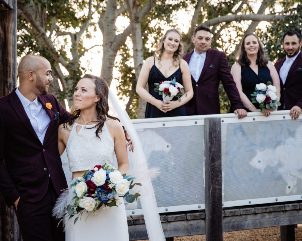 Bride and Groom with Bridal party on bridge