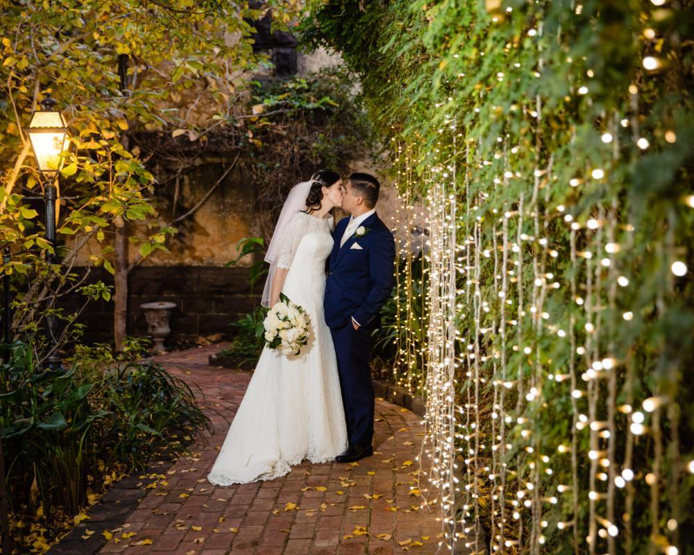 Overnewton Castle - Bride and Groom with fairy lights