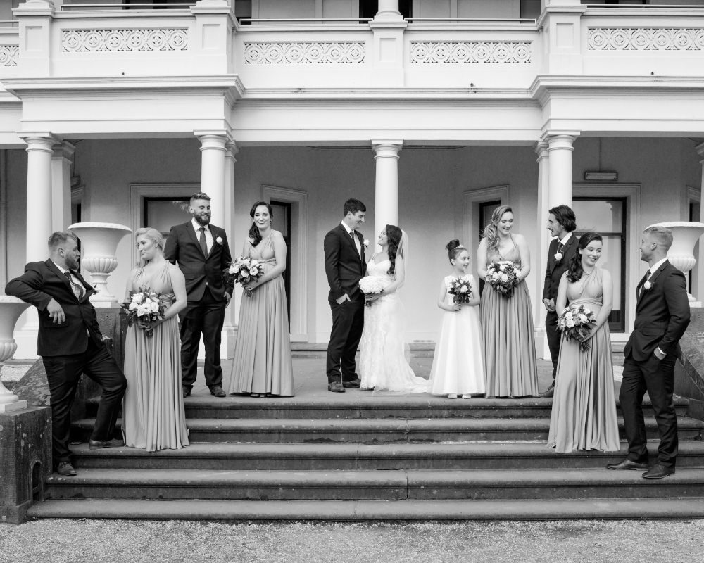 Kamesburgh Gardens - Bridal party on steps