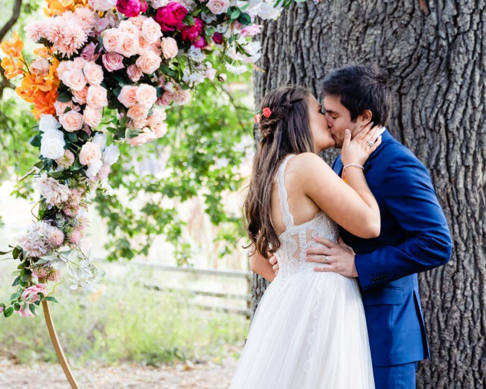 Collingwood Childrens Farm - Bride and Groom married under the oak tree