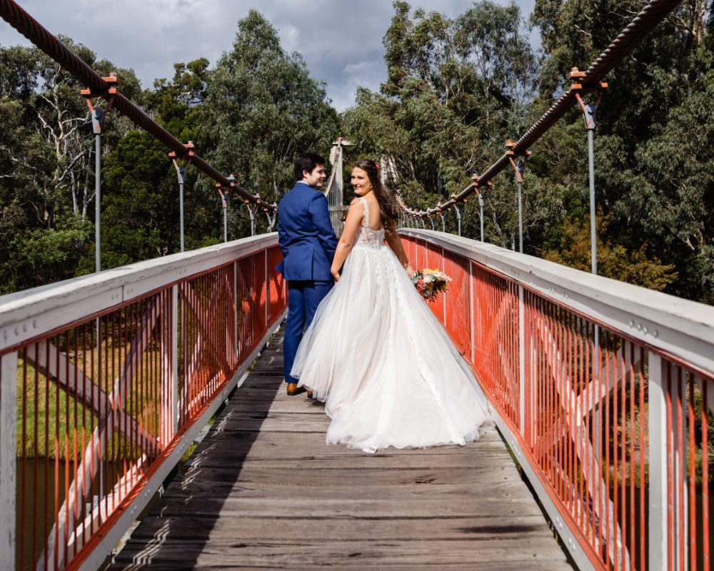 Studley Park - Bride and Groom on bridge