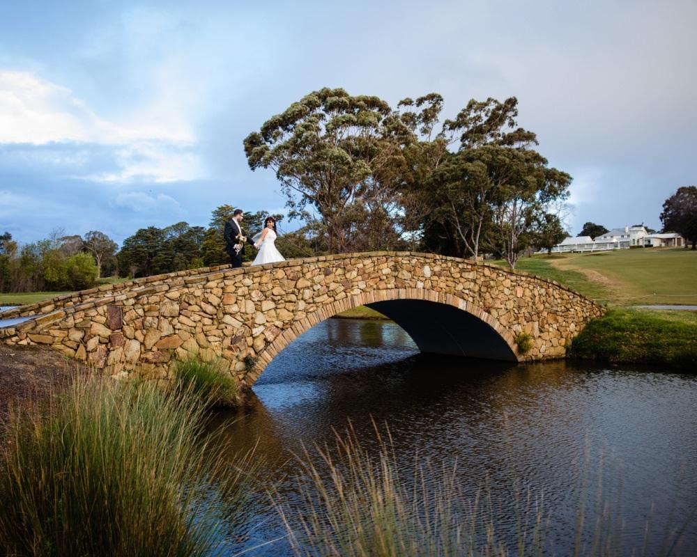 Riversdale Golf Club - Bride and Groom crossing bridge