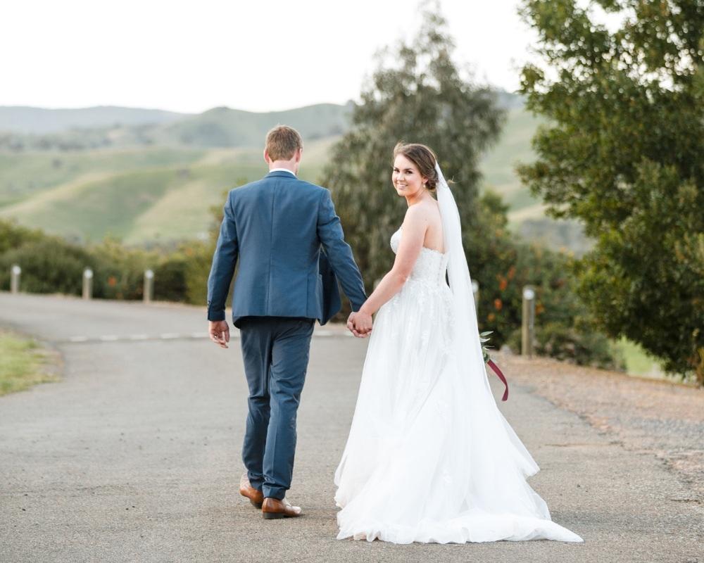 Flowerdale Estate - Bride and Groom walking