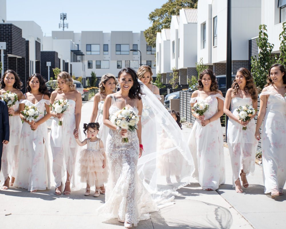 Bride getting ready with her crew