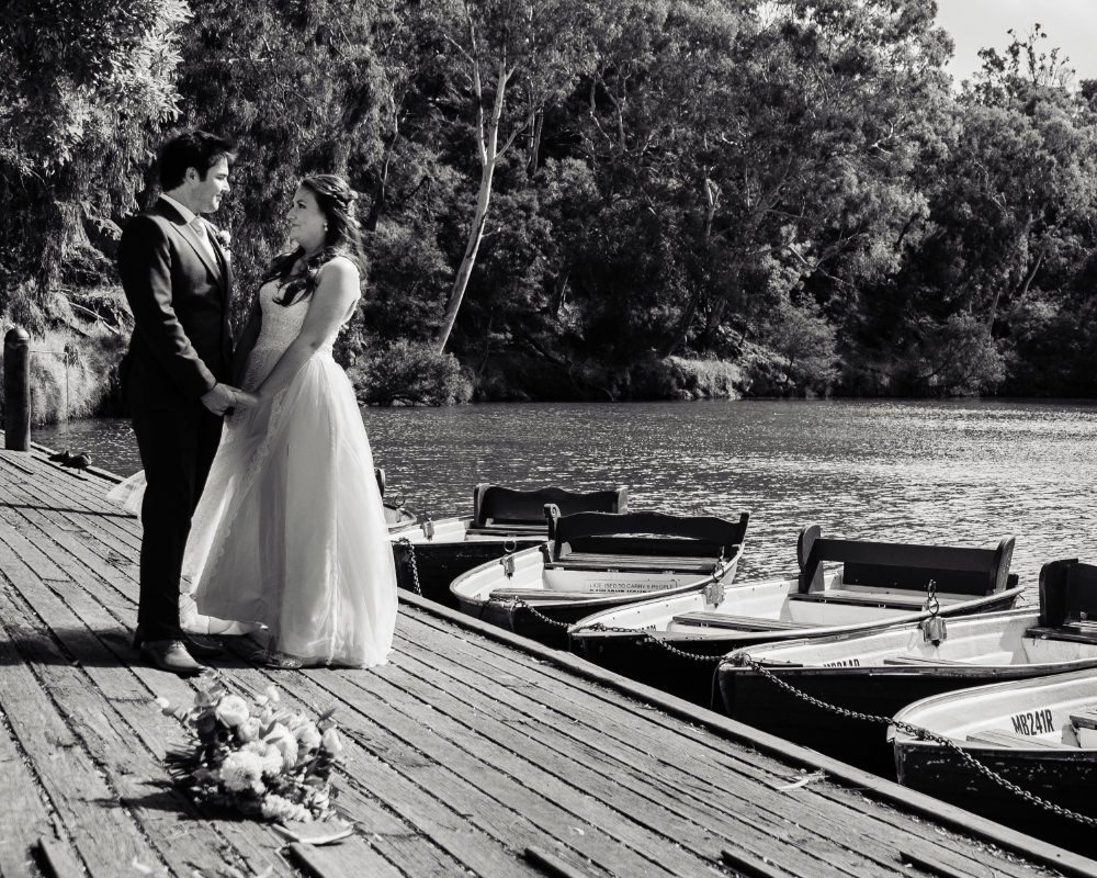 Studley Park - Bride and Groom by boats
