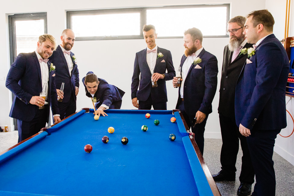 Groom and Groomsmen playing pool
