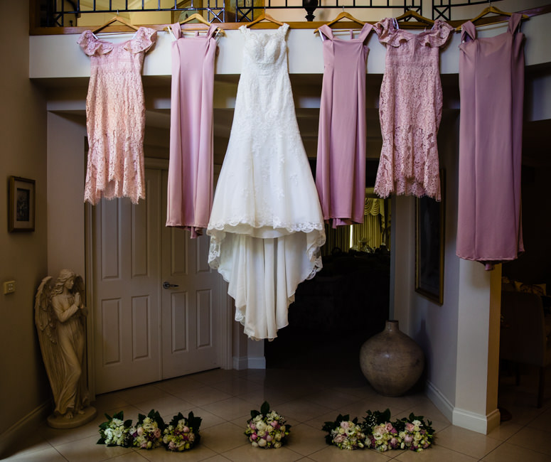 Bride's and Bridesmaids dresses hanging