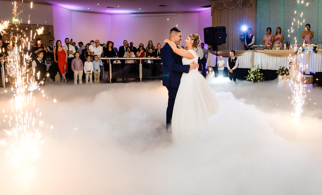 Jacqueline and Sam's first dance with dry ice and fireworks