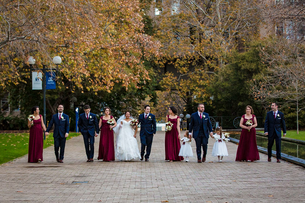 Rachel and Michael's walking with their bridal party