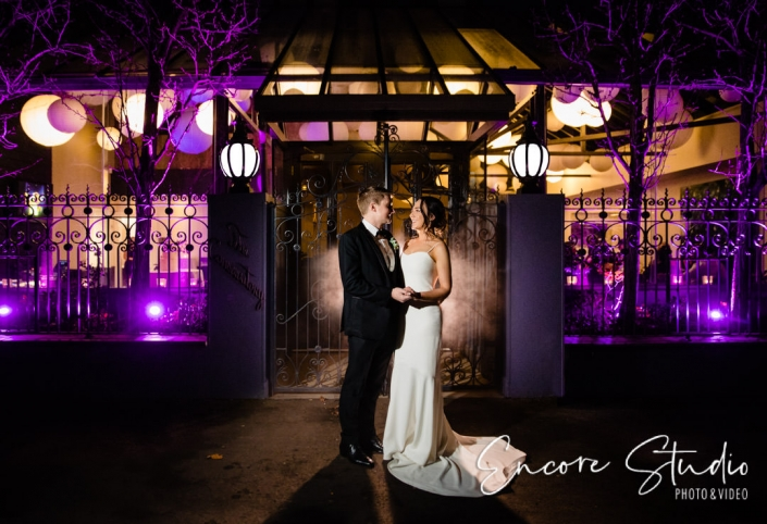 Bride and Groom outside St Andrew's Hotel